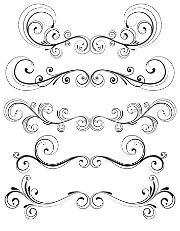 Vector set of floral decorative ornament page rules Vector