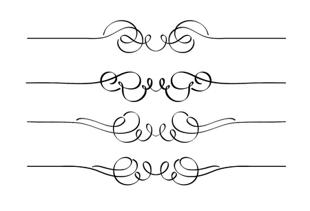 stylistic embellishments: set of decorative swirl ornament page rules