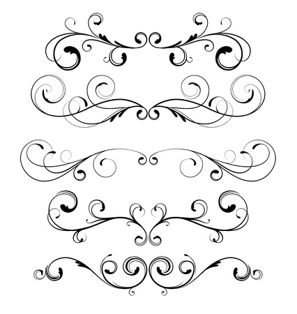fretwork:  set of floral decorative ornament page rules