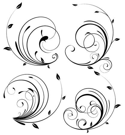 Conjunto de vectores de remolinos florece elementos decorativos de floral
