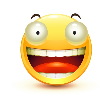 happy people faces: cool glossy Single Emoticon