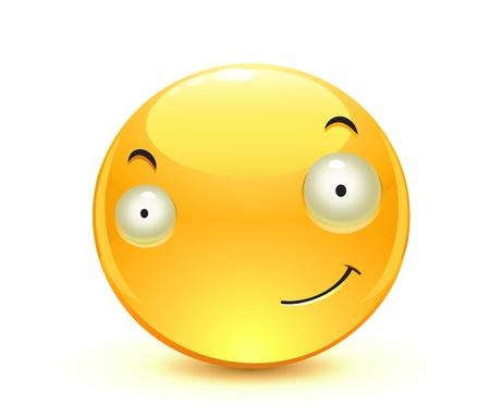 Vector illustration of cool glossy Single Emoticon  Vector