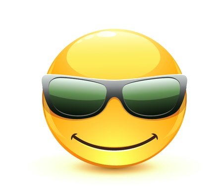 happy emoticon: Vector illustration of cool glossy Single Emoticon Illustration