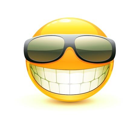 smiley: Vectorillustratie van cool glanzende één Emoticon