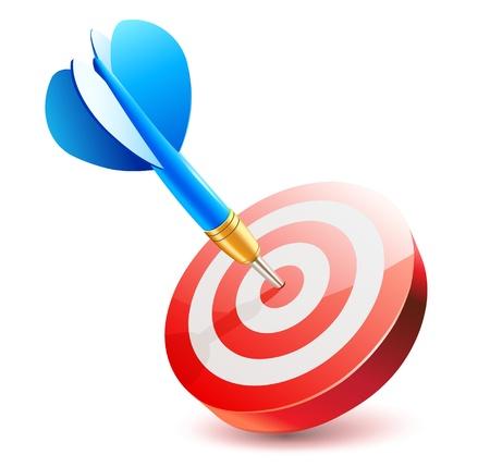 doelstelling: Vectorillustratie van blauwe dart raken in het midden van het doel dartbord