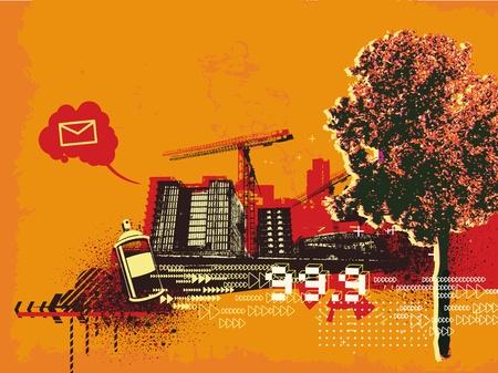 Vectorillustratie van grunge abstracte stedelijke achtergrond