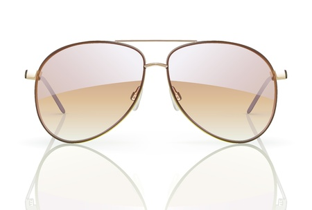 sun protection: Ilustraci�n vectorial de gafas de sol con estilo aviador con reflexi�n