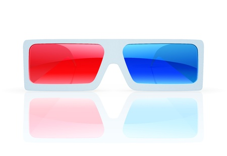 stereoscope: Vector illustration of 3d anaglyph glasses on a white background