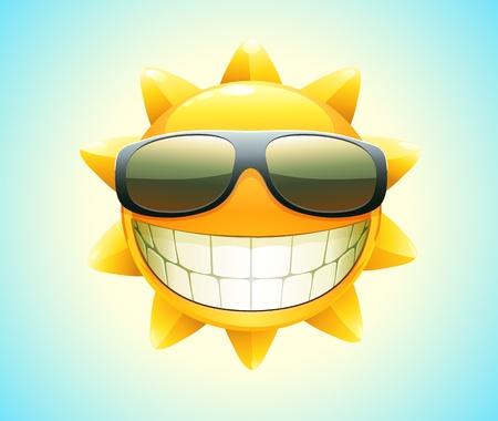 soleil rigolo: Vector illustration de soleil bande dessin�e �t� cool heureux dans des lunettes de soleil Illustration