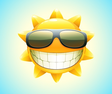Vector illustration of cool cartoon happy summer sun in sunglasses