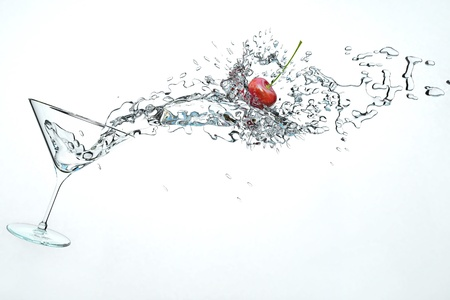 martini splash: 3D illustration of cocktail drink with a little cherry