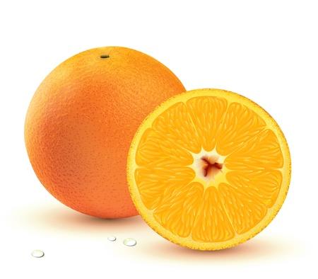 Fresh juicy oranges isolated on white background. photo