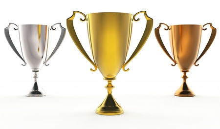 3D illustration of Front view of 3 trophies : golden, silver and bronze illustration
