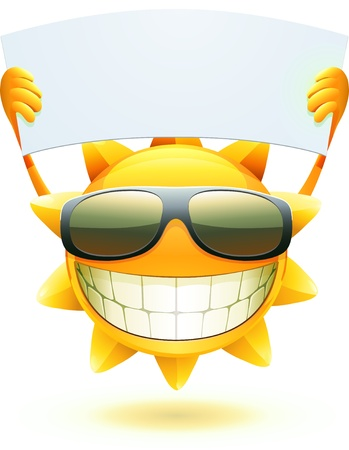 sun: cool cartoon happy summer sun in sunglasses with blank banner