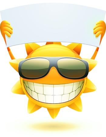 leuke cartoon blij zomerzon in een zonnebril met lege banner Vector Illustratie