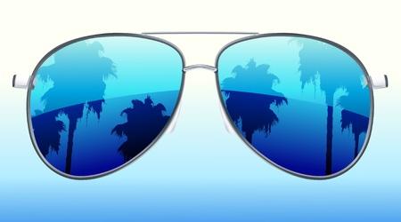 funky zonnebril met de reflectie van palmbomen