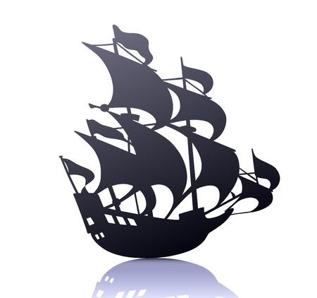 cool  silhouette of retro sailing ship Stock Vector - 9819429