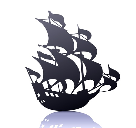 marine ship: cool  silhouette of retro sailing ship