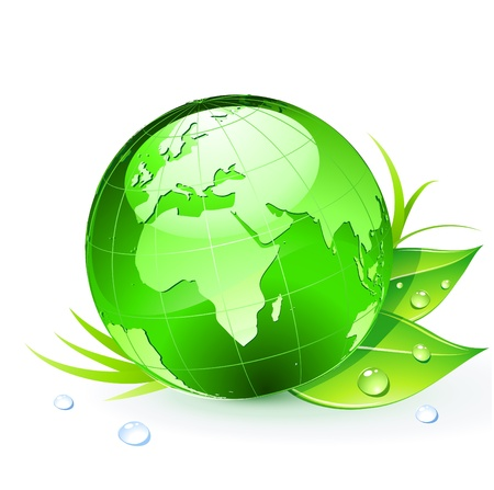 green icon: Green Earth planet (showing Europe and Africa) with leaves and water drops Illustration