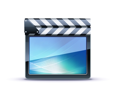 illustrator of closed movie clapper board Vector