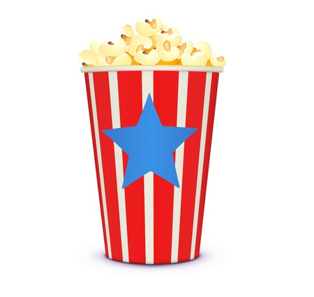 illustration of a classic cinema-style popcorn in a stripey box. Vector