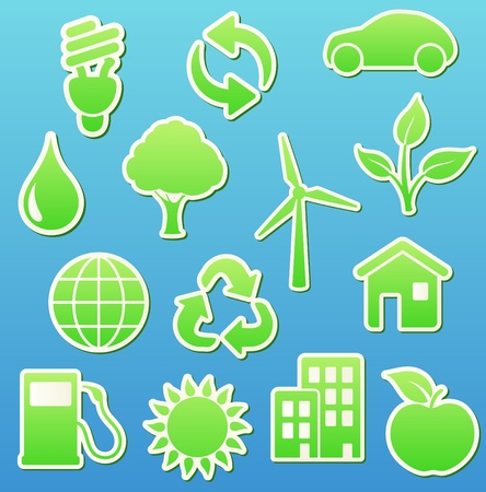 illustration of  green eco  icon set   Vector