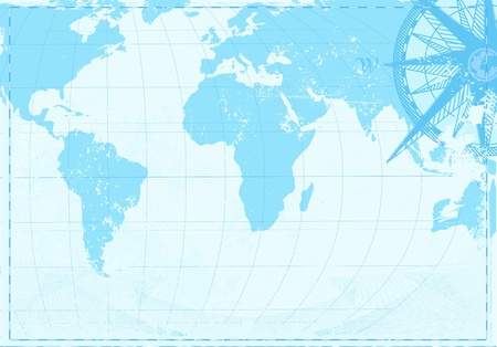 vacation map: illustration of blue grunge background with  Vintage word map and retro compass