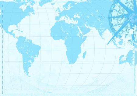 brujula antigua: Ilustraci�n de fondo azul grunge con mapa de palabra Vintage y retro br�jula  Vectores