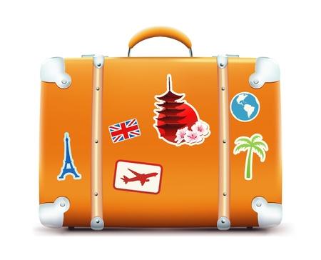 Ilustración de maleta vintage con pegatinas funky aisladas sobre fondo blanco