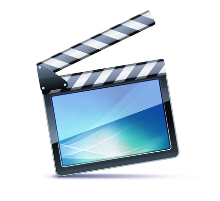 movie clapper: Vector illustrator of open movie clapper board