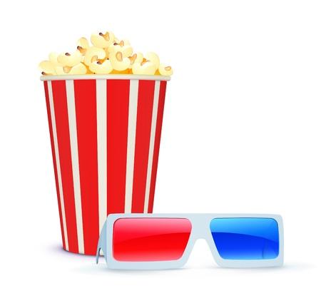3 d glasses:  illustration of cinema background with 3D glasses and popcorn  Illustration