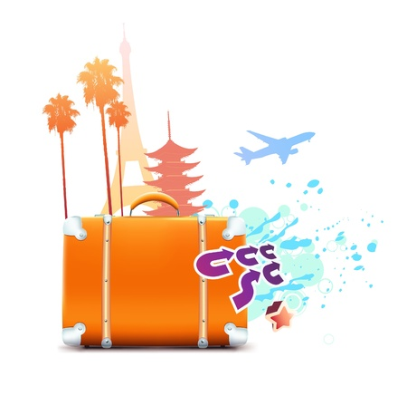 palmtrees: illustration of funky abstract summer travel background Illustration