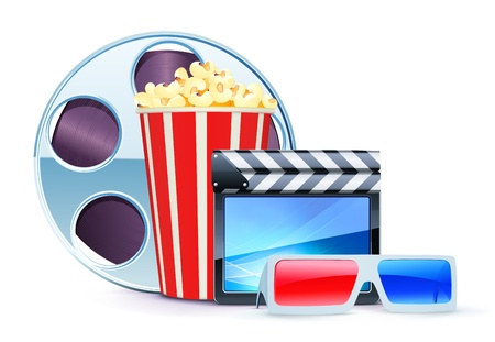 Vector illustration of cinema background with 3D glasses, popcorn, clapperboard and a film reel Stock Vector - 9852596