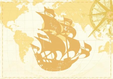 illustrazione di Vintage parola mappa grunge background con bussola retrò e silhouette di veliero retrò