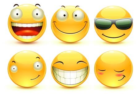 cara sonriente: Ilustración conjunto de iconos gestuales solo de brillante cool