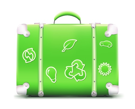 eco tourism: illustration of vintage green suitcase with funky eco stickers, isolated on white background
