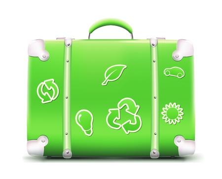 icono ecologico: Ilustraci�n de maleta verde vintage con pegatinas de eco funky, aislado en fondo blanco