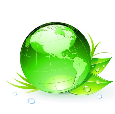 globe abstract: illustration of Green Earth planet with leaves and water drops Illustration