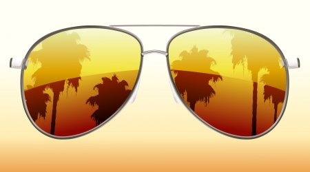 Illustration of  funky sunglasses with the reflection of palm trees