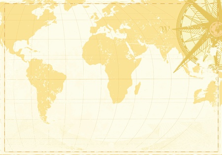 ancient map: illustration of cool grunge background with  Vintage word map and retro compass