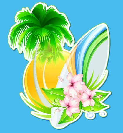 Vector illustration of funky summer insignia with palm tree, hibiscus flowers and surfboard Vector