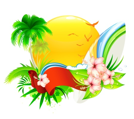 Vector illustration of funky summer  background with palm tree, hibiscus flowers and surfboard Illustration