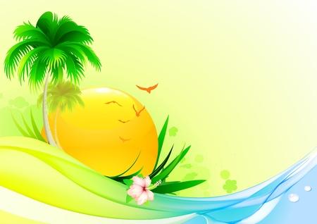 playas tropicales: Ilustración vectorial de fondo de verano funky con palmera, flor de hibisco y sun idílico Vectores