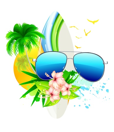 Vector illustration of funky summer  background with palm trees, hibiscus flowers, surfboard and funky sunglasses Vector