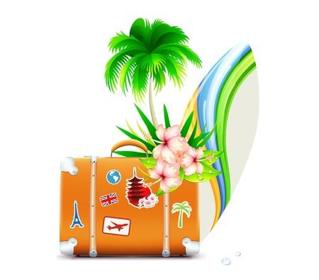 bagagli: Illustrazione vettoriale di sfondo estate funky con palme, fiori di ibisco, tavole da surf e la valigia d'epoca