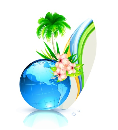 Vector illustration of funky summer  background with palm tree, hibiscus flowers, surfboard and blue earth planet globe Vector