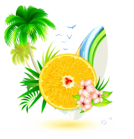 Vector illustration of funky summer background with palm trees, hibiscus flowers, surfboard and juicy slice of orange fruit Vector