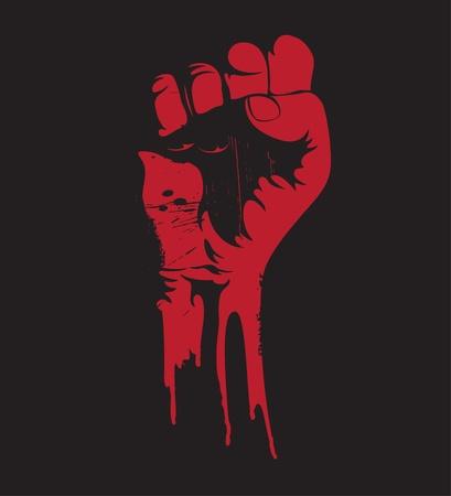 rebeldia: Ilustración vectorial de una blooding apretado puño bien alto en señal de protesta.