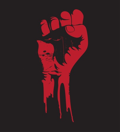 rebel: Vector illustration of a blooding clenched fist held high in protest. Stock Illustratie