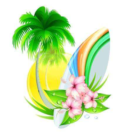 Vector illustration of funky summer insignia with palm tree, hibiscus flowers and surfboard